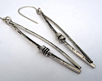 Norwegian Woods Long Silver Dangle Earrings Original Design Pine needle earrings Evitts Creek Lois McManus