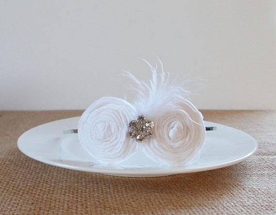 White Bridal Rosette Headband