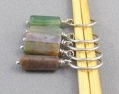 Gemstone beaded stitch markers