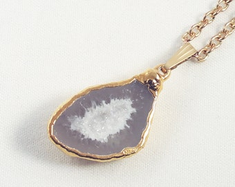 Half Geode Pendant Druzy Pendant Drusy Necklace 24K Gold Dipped Edge Raw Stone Necklace HG-P-102-001g