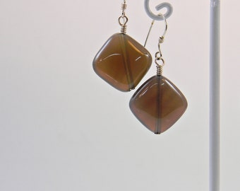 Gray Agate Dangle Short Earrings - Gemstone - Anniversary - Birthstone - Gift - Mineral
