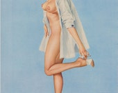 103#  Rare 50's  Vintage Vargas Pin Up Girl Playboy Picture  Hollywood Regency Shirt