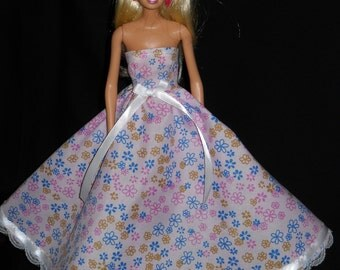 Light Pink with Flowers and Lace Gown Barbie Doll Dress Handmade