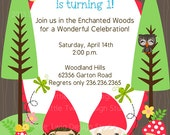 Woodland Gnomes DIY Party Printables Collection-   Digital Birthday Invitation 5x7