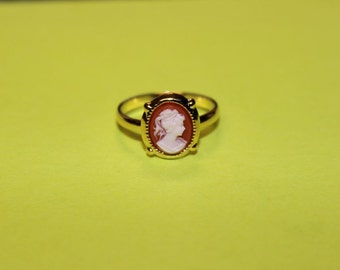 Tiny Red Victorian Lady Cameo Ring