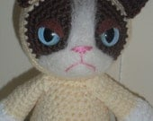 Grumpy Cat Meme crochet plush toy handmade kitty doll PLEASE READ CAREFULLY
