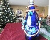 Wine Bottle Necklace - Teal Blue Beads - Celebration - Gift Giving - for Host or Hostess - for Bride & Groom