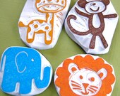 Jungle Safari Animal Rubber Stamp Set, Hand Carved