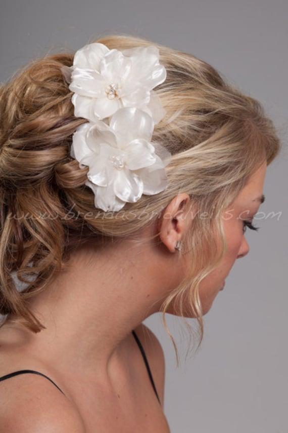 Bridal Flowers, 2 Piece Ivory Hair Set, Fresh Water Pearls, Rhinestones, Wedding Head Piece - Kennis