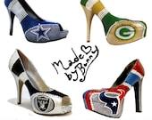 Sports Team Heels with Crystal Rhinestones and Glitter - Custom Stiletto / Pumps -  nfl /  nhl / mlb / nbl