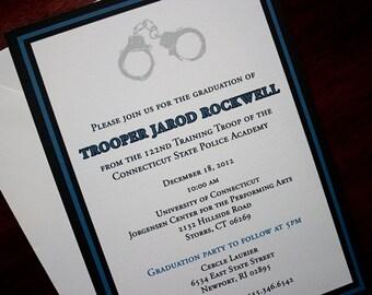 Thin Blue Line - Police Academy Graduation Announcement or Invitation