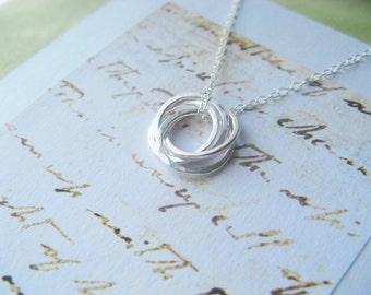 4 FRIENDS Necklace with POEM Card - INSEPARABLe RINGS Sterling Silver Four Friends Jewelry Best Friend - Wear Everyday Simple  Contemporary