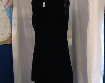 Vintage Black Velvet Sleeveless Dress