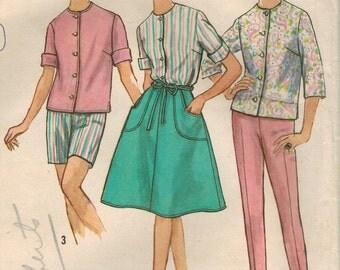 1960s Simplicity 4949 Vintage Sewing Pattern Misses Blouse, Wrap Skirt, Pants, Shorts Size 12 Bust 32
