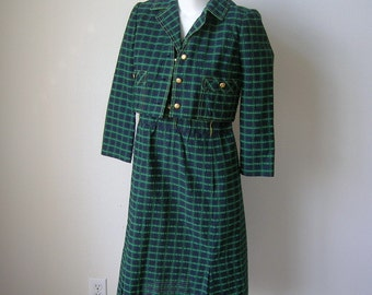 Vintage Zita Plaid Seersucker Dress Jacket Suit Size 8