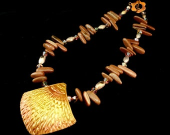 Statement Necklace Copper Cascade Polymer Clay Pendant & Brownstone Necklace