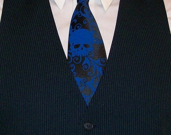 Two neckties, Mens skull ties - print to order in your colors, mix or match colors