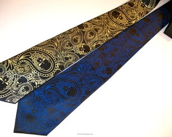 Paisley Skulls men microfiber necktie custom colors available