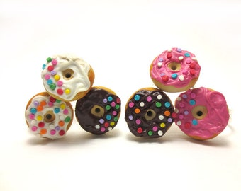 Sprinkles Donut Ring Collection (Pick One), Miniature Food Jewelry, Polymer Clay Food Jewelry