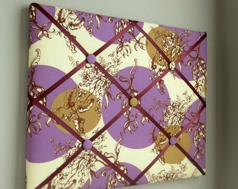 """11""""x14"""" French Memory Board or Bow Holder Cream Brown Purple Treetop Fancy"""