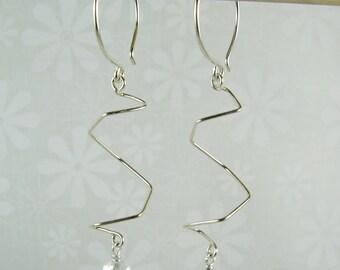 SPIRALITY EARRINGS, sterling silver long spiral dangle earrings with crystal