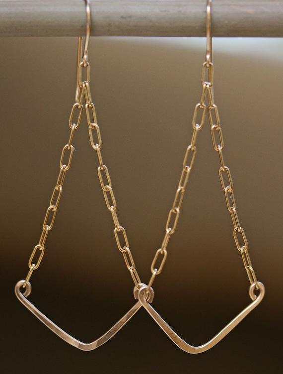 Gold Chevron Earrings - Gold Dangle Earrings - Hammered Gold Earrings