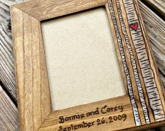 Wedding Picture Frame, Personalized Wedding Anniversary Picture Frame, Rustic Photo Frame, Custom Photo frame,  5 x 7  frame, wedding gift