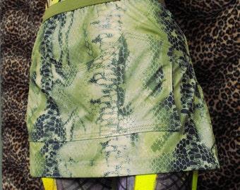 Snakeskin Mini Skirt Neon Green Snakeskin Micro Mini Skirt with Pocket Size Large Upcycled Skirt Animal Print Skirt Snakeskin Skirt Lime