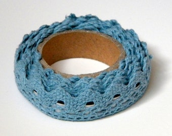 Blue Lace Fabric Tape, Decorative Cotton Adhesive
