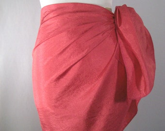 Mini Sarong - Short Pareo - Crinkled Silky Satin -  Hot Pink Sarong - Swimsuit Cover up - Beach Skirt - Beachwear