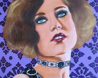 Flapper with Emerald Choker original painting
