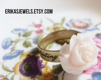 Our Fate is Our Destiny Ring with Pale Pink Rose
