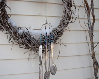 "SILVERWARE WIND CHIMES ""WhaLe/ Dolphin""-Windchimes-vintage-REcycled / REpurposed silverware with TurQuoise and PurpLe  BeaDs-great gift"