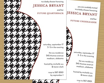 Houndstooth Belly Silhouette SEC themed Baby Shower Invitation - Roll Tide Baby Shower Invitation - Pregnant Silhouette Invitation
