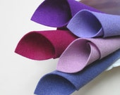Wool Felt Fabric, The Purples, Five Piece Set, 8x12 Inch Sheets, Merino Wool, Stuffed Toy Fabric, Felt Flowers, DIY Party Supply, Assortment