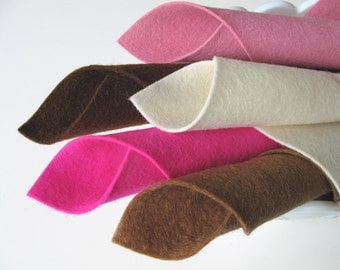100% Wool, Felt Set, Merino Fabric, Neapolitan Color Story, Brown, Lavender Pink, Ecru, Deep Pink, Acorn, Felted Wool, Wollfilz, 1mm Thick