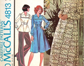 McCalls 4813 1970s Misses Yoked Pullover Dress and Top Pattern Boho Caftan UNCUT Womens Vintage Boho Sewing Pattern  Size 12 Bust 34