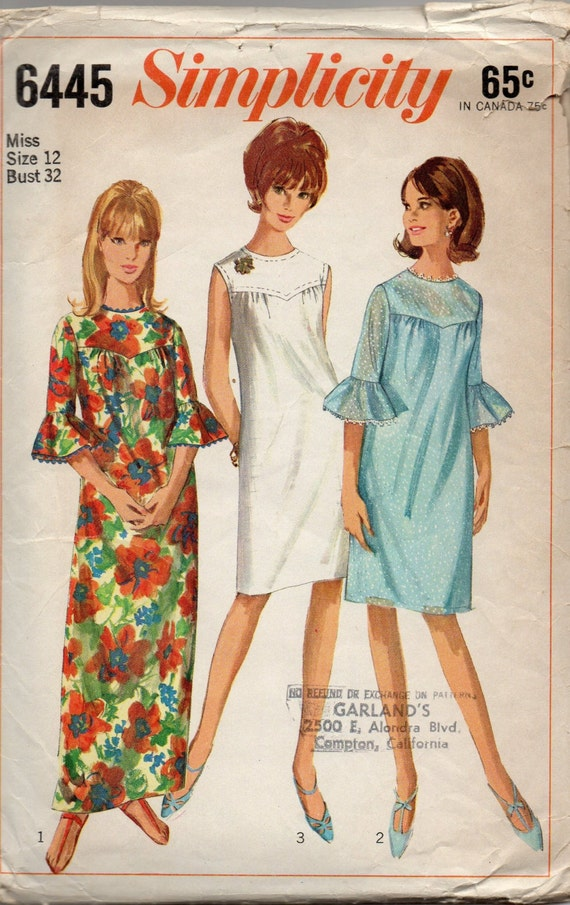 Simplicity 6445 1960s Misses Shift DRESS Pattern Shaped Yoke - photo#18