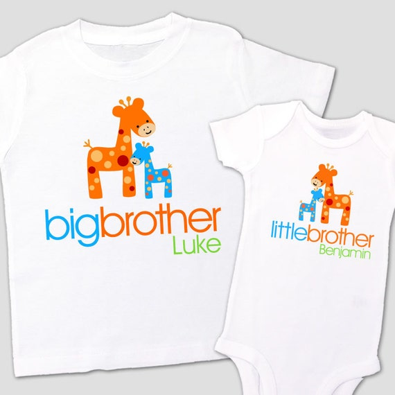 big brother shirt, little brother shirt-FUNKY GIRAFFE - matching big brother / little brother set - for sisters, too, though
