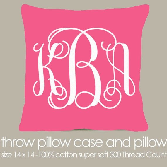 Etsy Pink Throw Pillow : Monogram throw pillow pink fabric with white print pillow