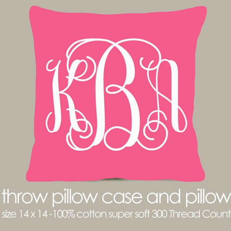 Monogram A Pillow: Monogram Throw Pillow Pink Fabric With White Print Pillow