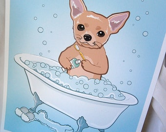Bathtime Chihuahua - Eco-Friendly 8x10 Print