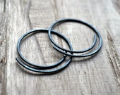 Oxidized Half-Spiral Earrings. Black Sterling Silver Jewelry. Jewellery. Handmade. Modern. Minimalist. Contemporary.