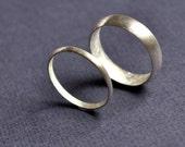 Wedding Band Set - Matte 2mm & 5mm  Round Matte Rings. Modern Contemporary Simple Sleek Elegant Design. Sterling Silver. Jewellery. Jewelry.