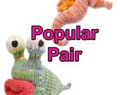 Popular Pair Seahorse and Garden Slug Amigurumi Plush Toy Pattern Instant Download PDF