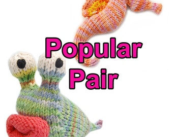 Popular Pair Seahorse and Garden Slug Amigurumi Plush Toy Pattern Instant Download PDF