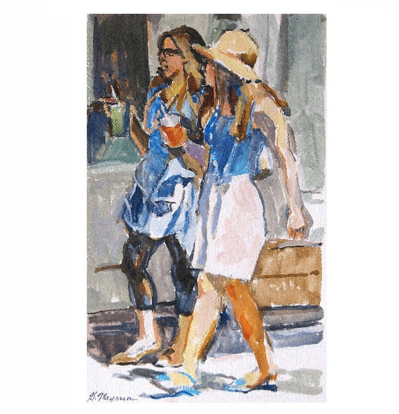 Friendship, Girlfriends Fine Art Print of Watercolor, Summer Girls Figurative white blue Painting by Gwen Meyerson