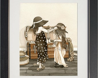 Dress Up - archival watercolor print by Tracy Lizotte