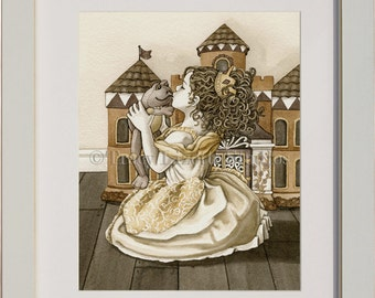 The Princess And The Frog - archival watercolor print by Tracy Lizotte