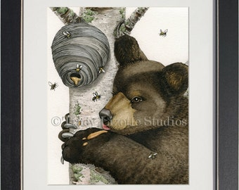 Honey Bear - archival watercolor print by Tracy Lizotte